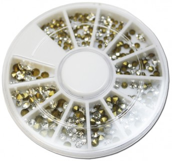 Wheel with silver Strass & gold Cones