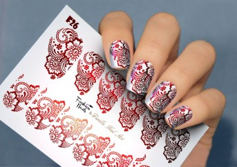 Vanilla Nail Art Slider No. F-26-red (Foil Effekt)