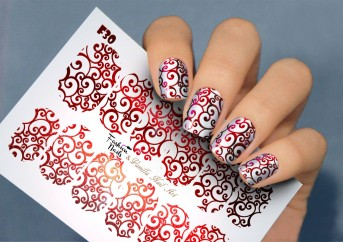 Vanilla Nail Art Slider No. F-30-red (Foil Effekt)