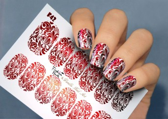 Vanilla Nail Art Slider No. F-42-red (Foil Effekt)