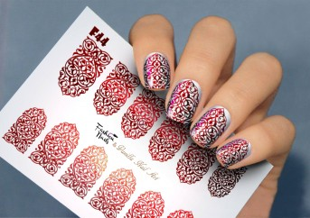 Vanilla Nail Art Slider No. F-44-red (Foil Effekt)
