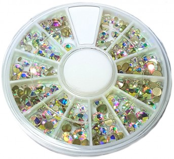 Strass Wheel Colored Crystal, mixed sizes